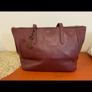 Fossil Sydney Shopper in Maroon